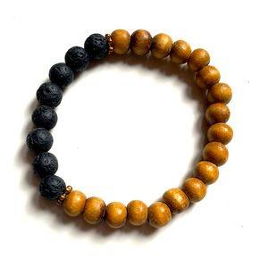 4/25$ Aromatherapy Lava Stone wood bead Bracelet